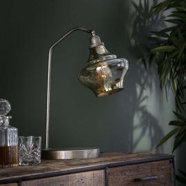 Lampe à poser vintage en métal argenté et verre ambré Alexis