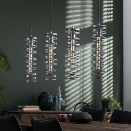 Suspension industrielle en métal argenté 4 lampes spirales John