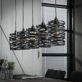 Suspension industrielle 5 lampes en métal gris Ø 17 cm James
