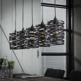 Suspension industrielle 5 lampes en métal gris Ø 17 cm James