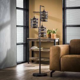 Lampadaire industriel 3 lampes en métal gris James