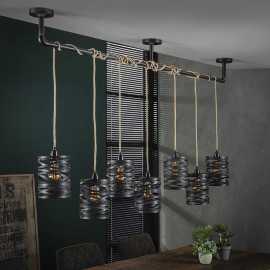 Suspension industrielle 7 lampes en métal gris James