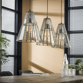 Suspension vintage 3 lampes abat-jour en verre Kyra