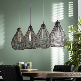 Suspension contemporaine en métal noir 4 lampes Aline