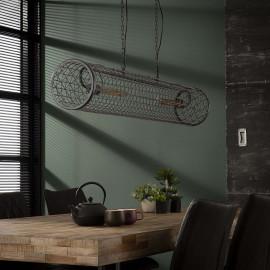 Suspension industrielle en métal gris Ø20 cm 2 lampes Justine