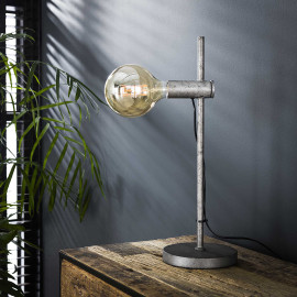 Lampe de table industrielle en métal argenté Tim