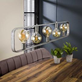 Suspension industrielle en métal argenté 5 lampes Manon