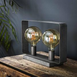 Lampe de table industrielle en métal argenté 2 lampes Manon