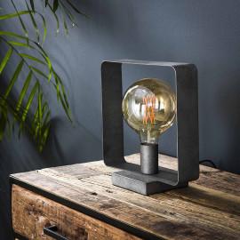 Lampe de table industrielle carrée en métal argenté Manon