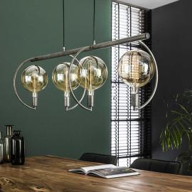 Suspension industrielle en métal argenté 4 lampes Emilie