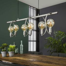 Suspension industrielle en métal argenté 6 lampes Emilie