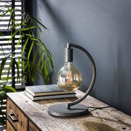 Lampe de table industrielle demi cercle en métal argenté Emilie