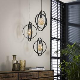 Suspension industrielle ronde en métal noir 3 lampes Sam