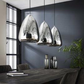 Suspension contemporaine en verre chromé 3 lampes Suzie