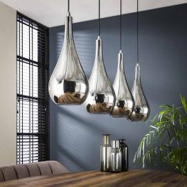 Suspension contemporaine en verre chromé 4 lampes Suzane