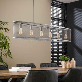 Suspension industrielle ovale en métal argenté 6 lampes Jamy