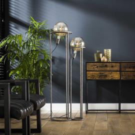 Lampadaire industriel en métal argenté 2 lampes Julien