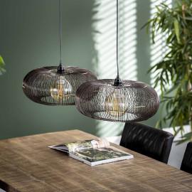 Suspension industrielle en métal noir 2 lampes Ø43 cm Audrey