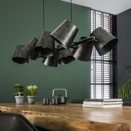 Suspension industrielle en métal noir 8 lampes amovibles Tommy