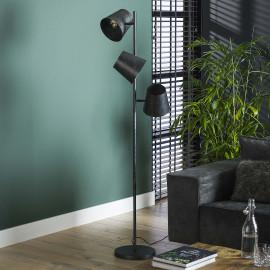 Lampadaire industriel en métal noir 3 lampes amovibles Tommy