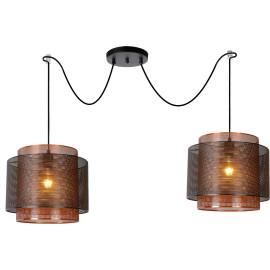 Suspension salon industriel 2 lampes Ø 34 cm Eva