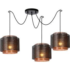 Suspension salon industriel 3 lampes Ø 25 cm June