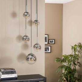 Suspension industrielle 5 lampes rondes Pauline