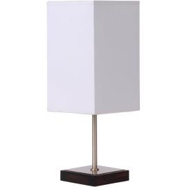 Lampe de table classique tactile sur pied tissu blanc Luna