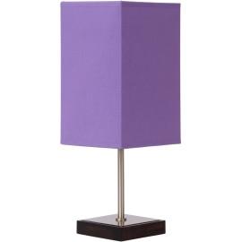 Lampe de table classique tactile sur pied tissu mauve Luna