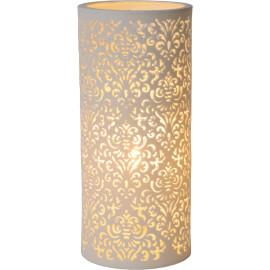 Lampe de table baroque en céramique blanche Lily