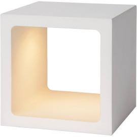 Lampe à poser design tactile led en métal blanc Cubik