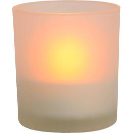 Lampe à poser classique ronde en verre bougie led Candea