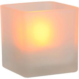 Lampe à poser classique carrée en verre bougie led Kindea