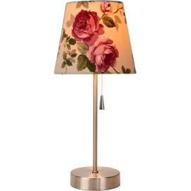 Lampe de table classique en métal et tissu floral Noa