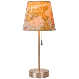 Lampe de table classique en métal et tissu mapmonde Noa