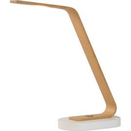 Lampe de bureau moderne led béton et bois clair Paolo