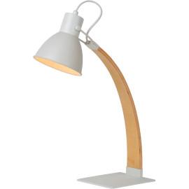 Lampe à poser moderne en bois et métal blanc Scandino