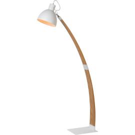 Lampadaire moderne en bois et métal blanc Angel