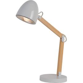 Lampe de bureau industrielle en bois et métal blanc Lila