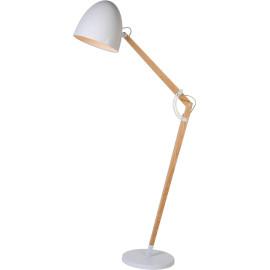 Lampadaire industriel en bois et métal blanc Switch