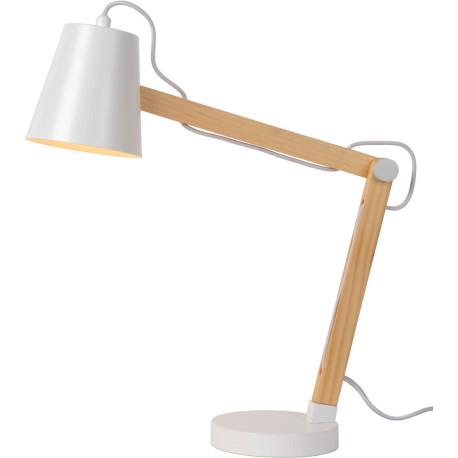 lampe poser contemporaine en bois et m tal blanc norah. Black Bedroom Furniture Sets. Home Design Ideas