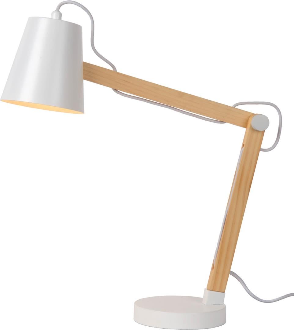 Lampe à poser contemporaine en bois et métal blanc Norah