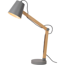 Lampe à poser contemporaine en bois et métal gris Norah