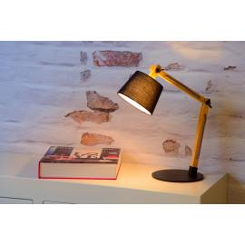 Lampe de bureau moderne en bois en en métal noir Juju