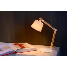 Lampe de bureau moderne en bois en en métal blanc Juju