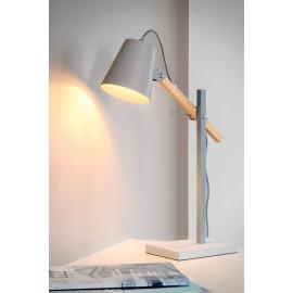 Lampe à poser design en bois et en métal gris Fanny