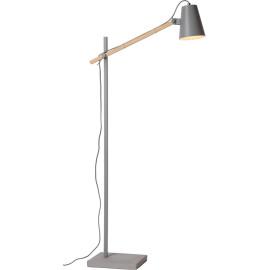 Lampadaire design articulé en bois et en métal gris Caro
