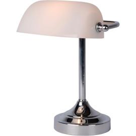 Lampe à poser vintage en métal et en verre blanc Luxory
