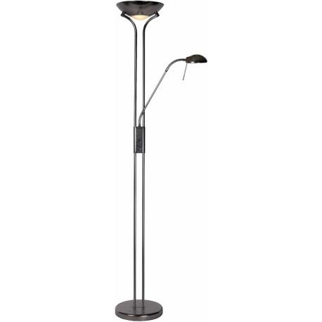 lampadaire rustique en m tal avec liseuse gris satin galva. Black Bedroom Furniture Sets. Home Design Ideas