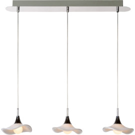 Suspension contemporaine led en verre 3 ampoules Bella